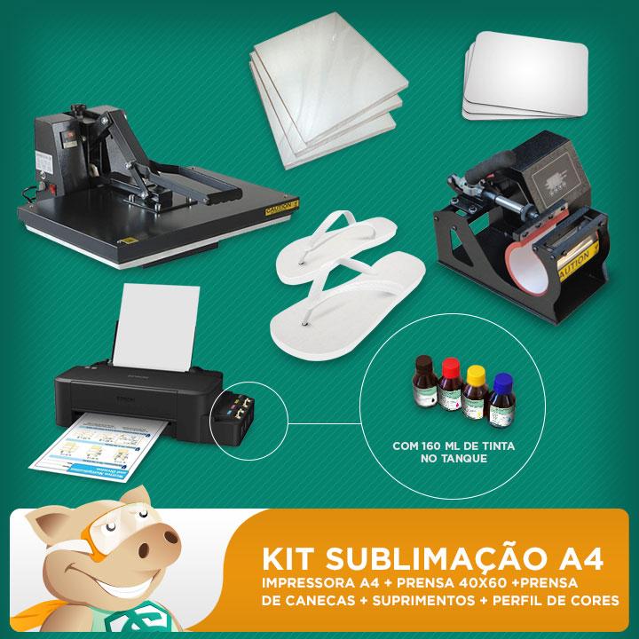 Kit sublimação A4  + 40x60 + prensa de canecas (prensa 40x60 + prensa de canecas + impressora A4+ perfil de cores GRATIS!)   - ECONOMIZOU