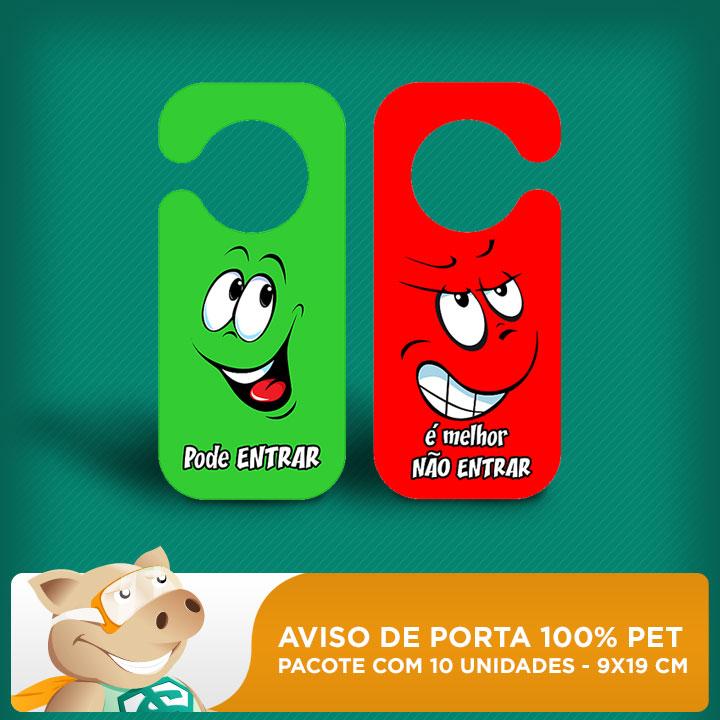 Aviso de Porta 100% PET - 9x19cm - Pacote com 10 unidades  - ECONOMIZOU