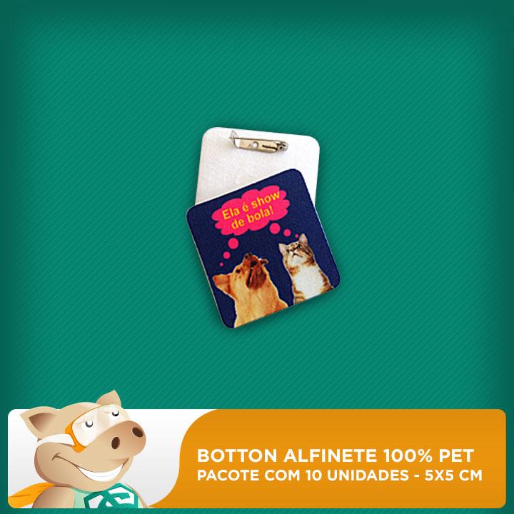 Botton Alfinete 100% PET - Quadrado - 5x5cm - Pacote com 10 unidades  - ECONOMIZOU