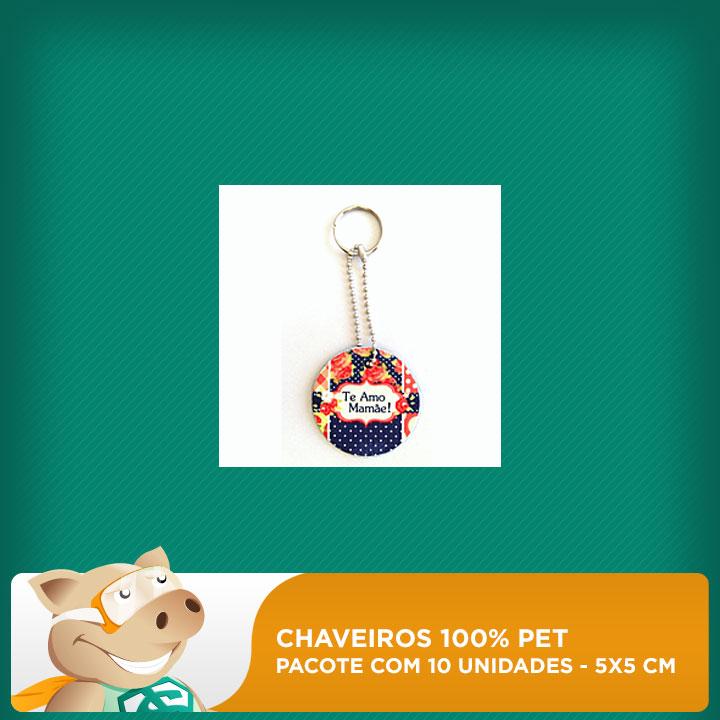 Chaveiro 100% PET - Redondo - 5x5cm - Pacote com 10 unidades  - ECONOMIZOU