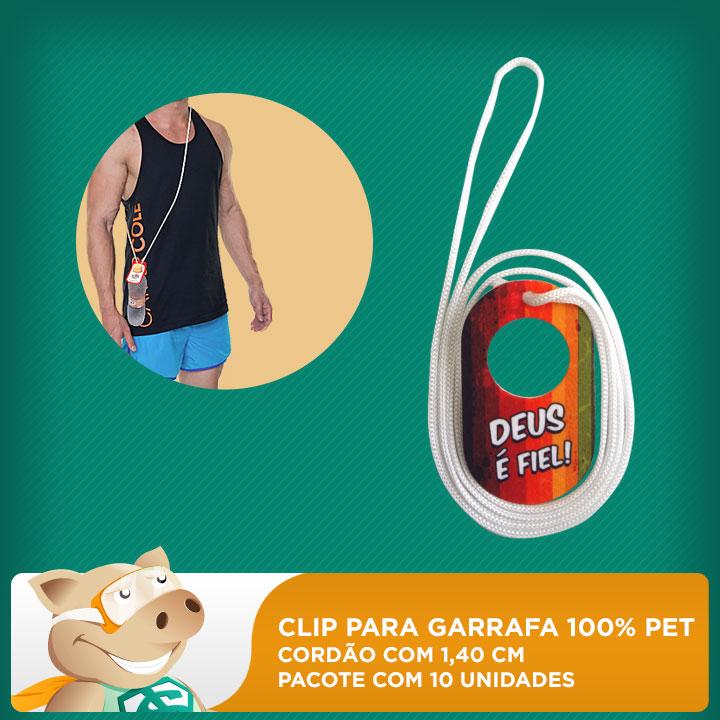 Clip para Garrafa 100% PET - Cordão 1,40cm - Pacote com 10 unidades  - ECONOMIZOU