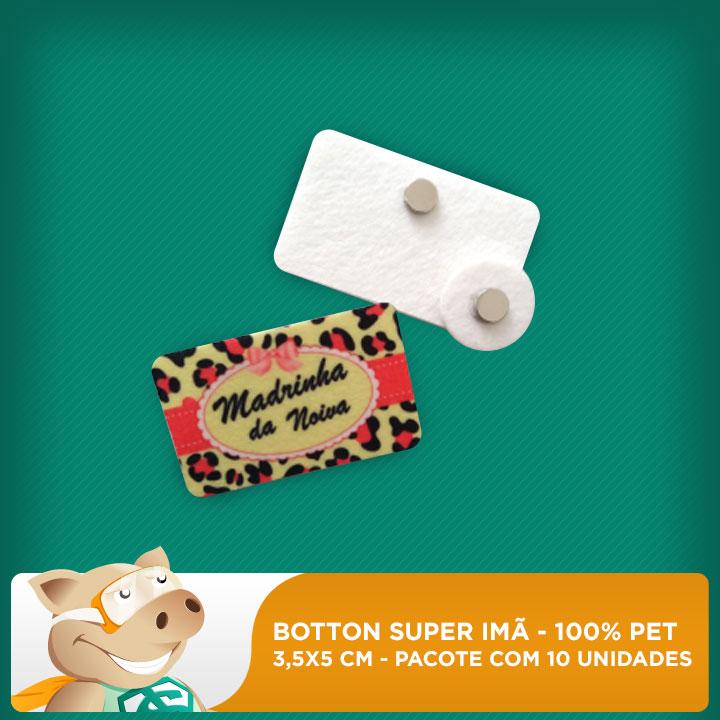 Botton Super Imã 100% PET - Retangular - 3,5x5cm - Pacote com 10 unidades  - ECONOMIZOU
