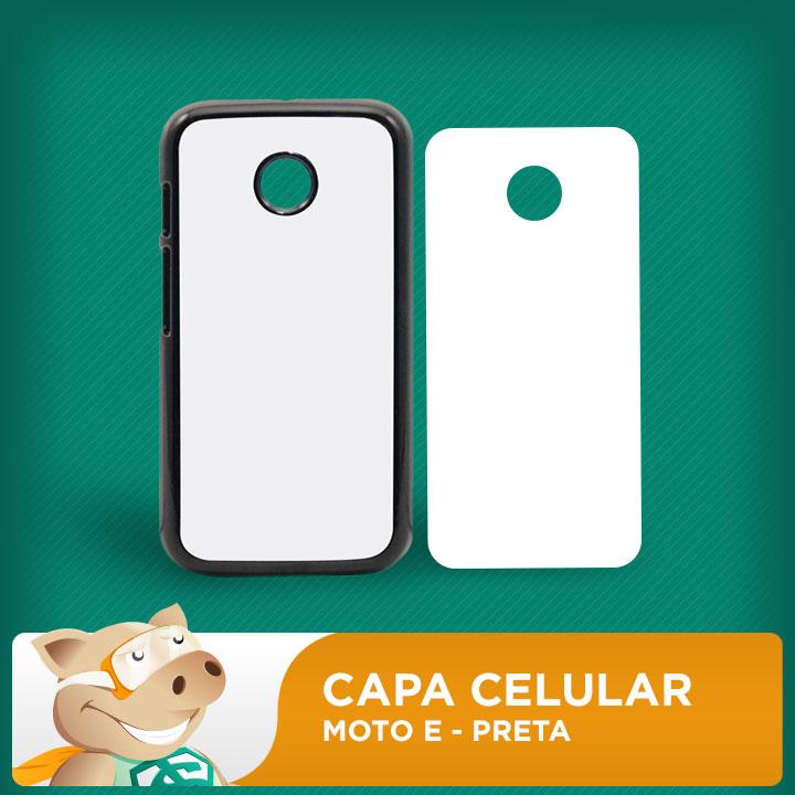 Capa Plástica 2D para Sublimação - Preta - Moto E  - ECONOMIZOU