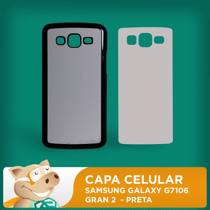 Capa Plástica 2D para Sublimação - Preta - Samsung Galaxy G7106 / Gran 2  - ECONOMIZOU