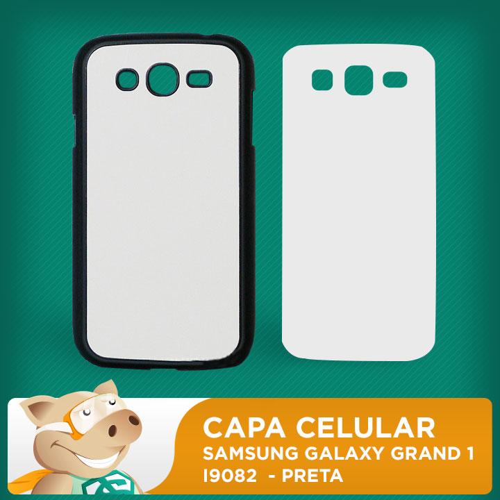 Capa Plástica 2D para Sublimação - Preta - Samsung Galaxy  Grand 1 - I9082  - ECONOMIZOU