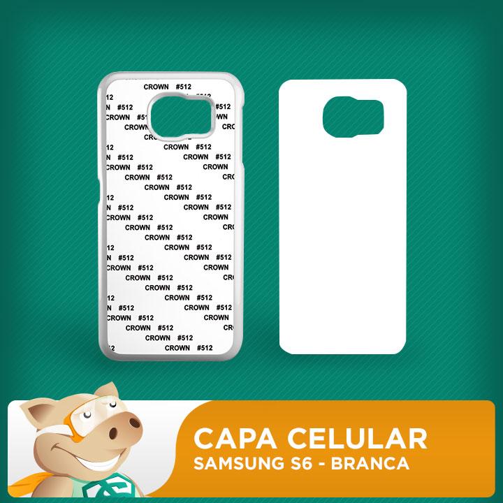 Capa Plástica 2D para Sublimação - Branca -Samsung S6  - ECONOMIZOU