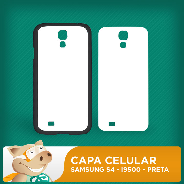 Capa Plástica 2D para Sublimação - Preta -Samsung S4 - I9500  - ECONOMIZOU