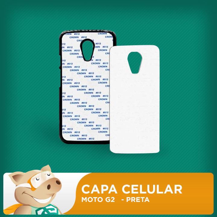 Capa Plástica 2D para Sublimação - Preta -Moto G2  - ECONOMIZOU