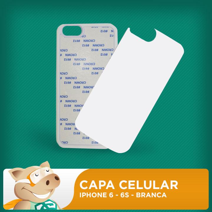 Capa Plástica 2D para Sublimação - Branca - Iphone 6 - 6s  - ECONOMIZOU