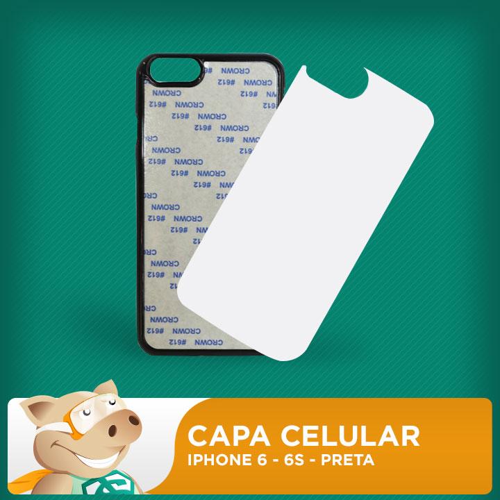 Capa Plástica 2D para Sublimação - Preta - Iphone 6 - 6s  - ECONOMIZOU