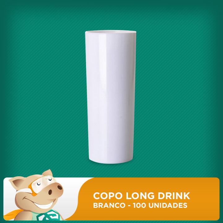 Copo Long Drink  - Branco - 100 Unidades  - ECONOMIZOU