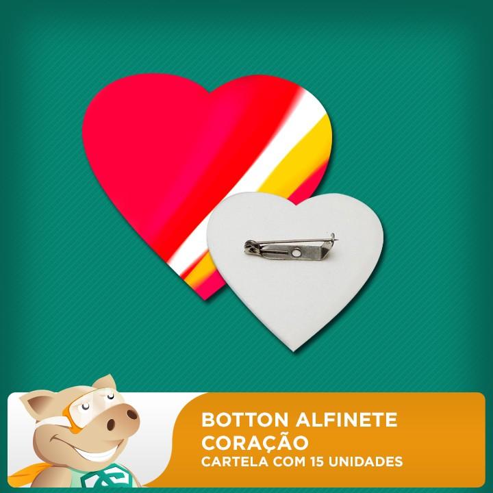 Botton Alfinete 100% PET - Coração - Cartela com 15 unidades  - ECONOMIZOU