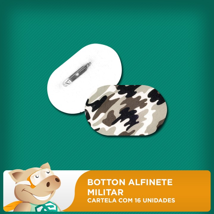Botton Alfinete 100% PET - Militar - Cartela com 16 unidades  - ECONOMIZOU