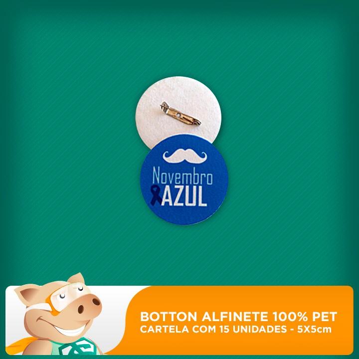 Botton Alfinete 100% PET - Redondo - 5x5cm - Cartela com 15 unidades  - ECONOMIZOU