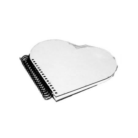 Caderno coração capa MDF - 19x19cm - 75 folhas  - ECONOMIZOU