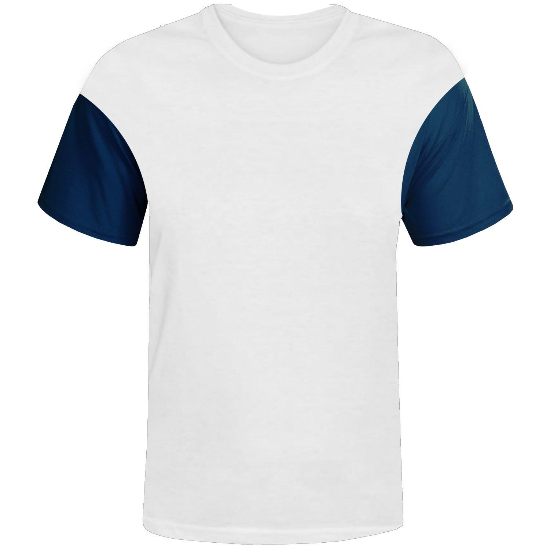 Camisa branca com manga azul royal 100% poliester para sublimação P  - ECONOMIZOU