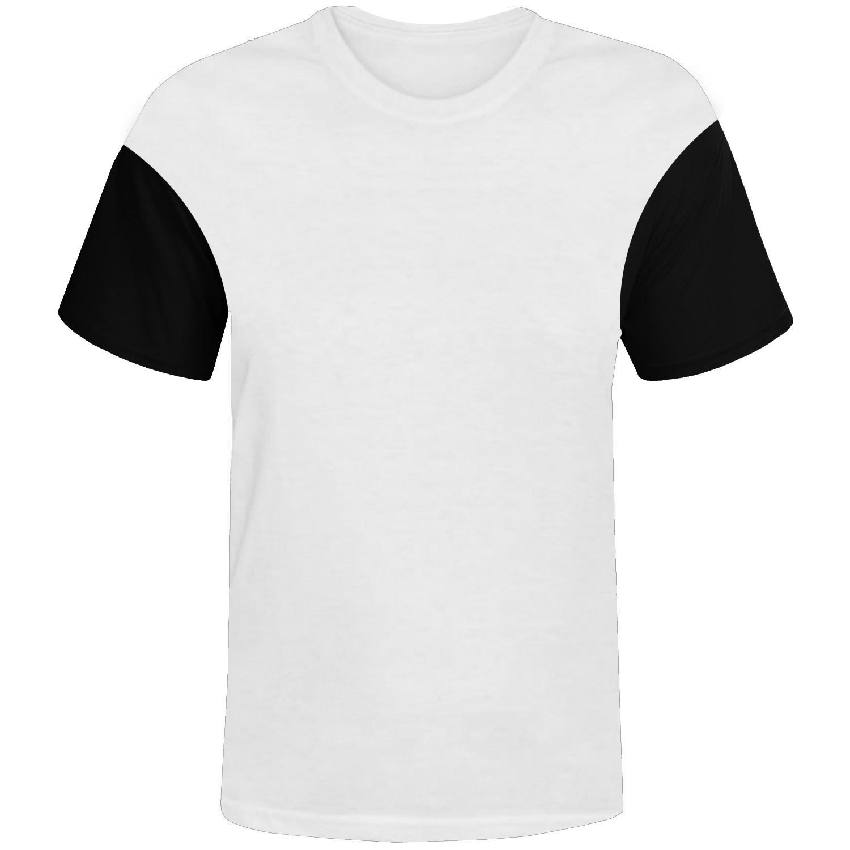 Camisa branca com manga preta 100% poliester para sublimação P  - ECONOMIZOU