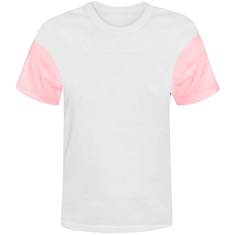 Camisa branca com manga rosa 100% poliester para sublimação P  - ECONOMIZOU
