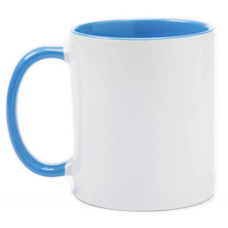 Caneca branca com alça e interior azul claro  - ECONOMIZOU