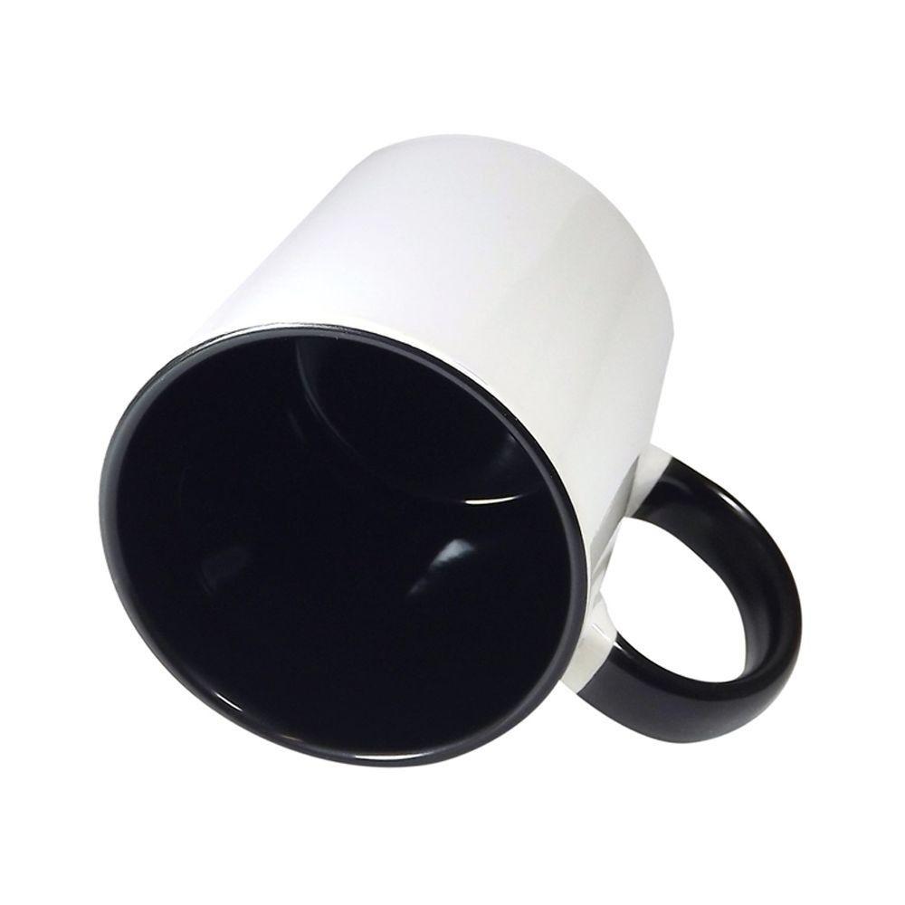 Caneca  branca com alça e interno preto  - ECONOMIZOU