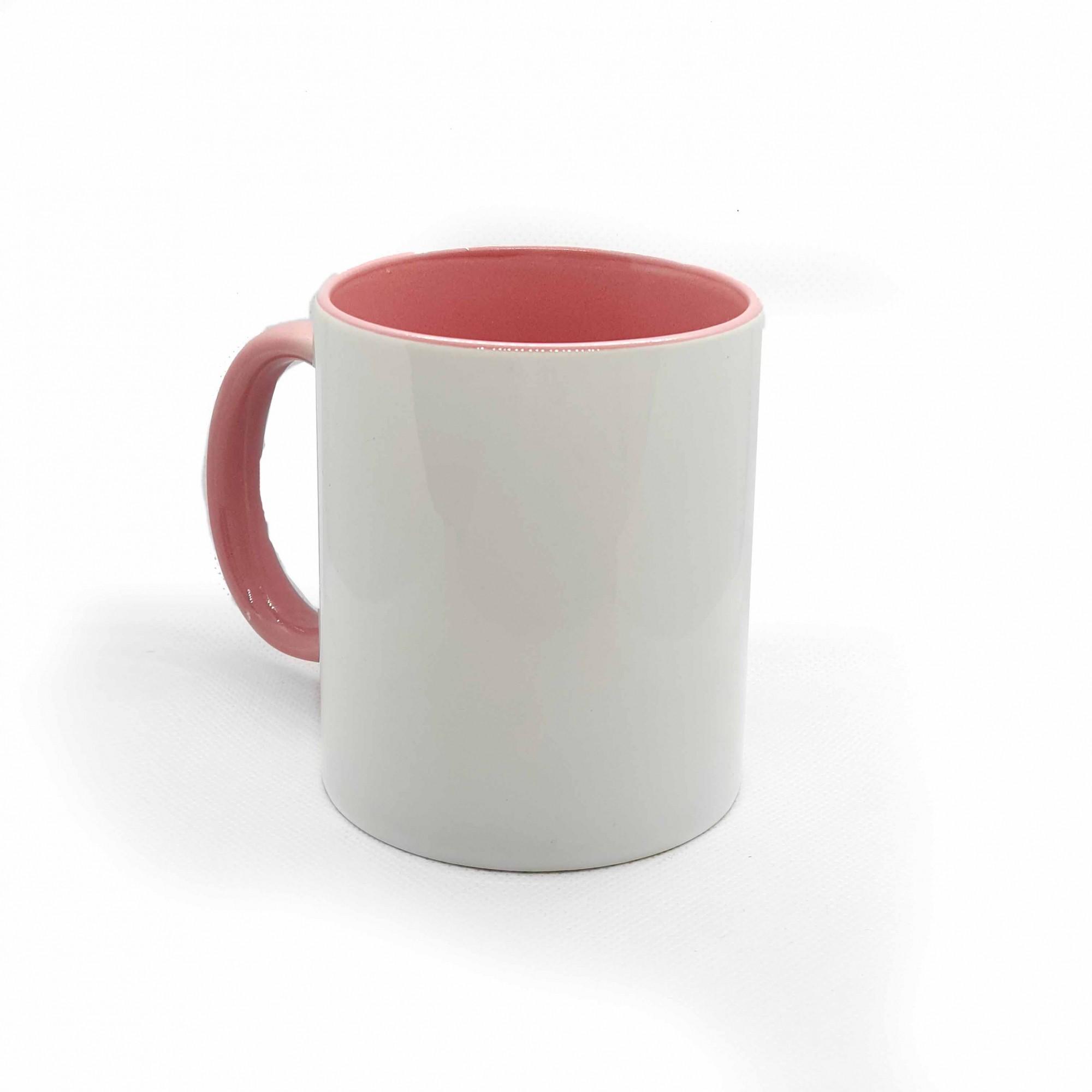 Caneca branca com interior e alça rosa para sublimação - UNIDADE  - ECONOMIZOU