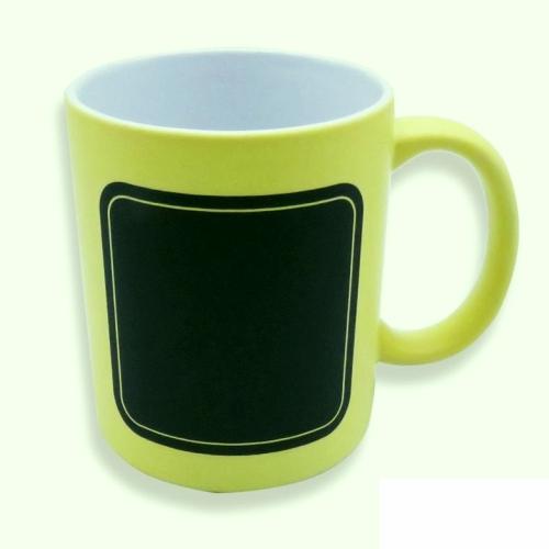 Caneca de cerâmica Amarela - Quadro Negro  300ml  - ECONOMIZOU
