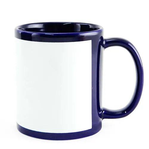 Caneca de cerâmica  azul escuro com tarja  - ECONOMIZOU