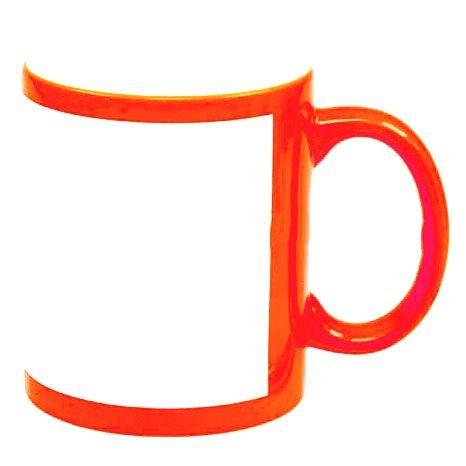 Caneca de cerâmica  laranja com tarja  - ECONOMIZOU