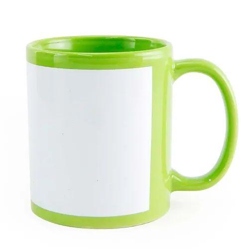 Caneca de cerâmica  verde claro com tarja - unidade  - ECONOMIZOU