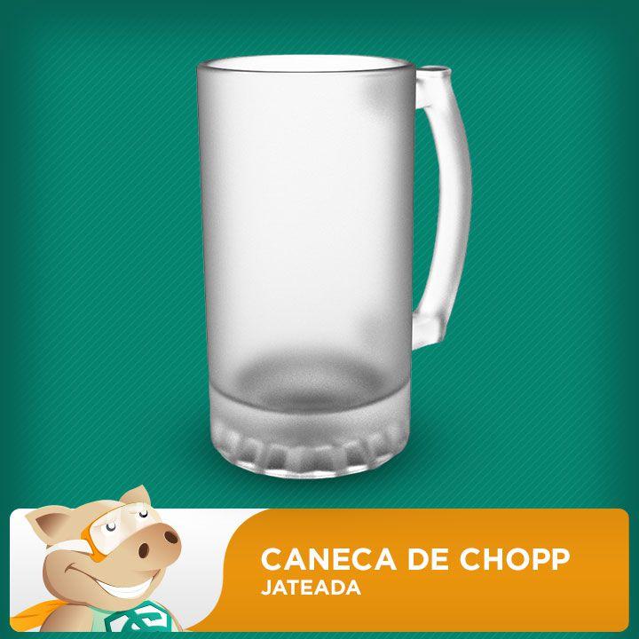 Caneca de Chopp Grande de Vidro Jateada 500ml  - ECONOMIZOU