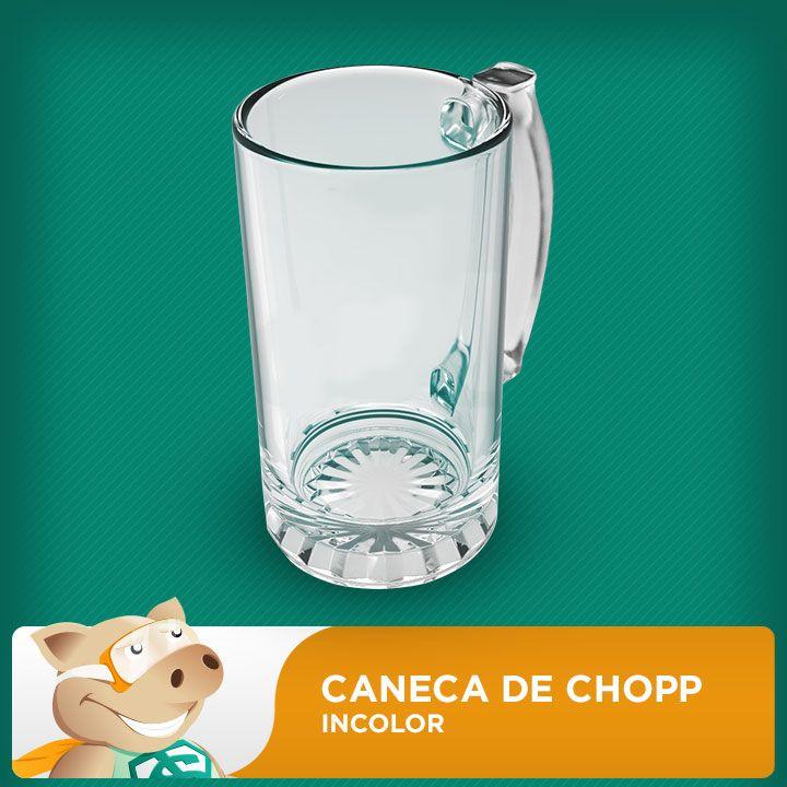 Caneca de Chopp Grande de Vidro Liso 500ml  - ECONOMIZOU