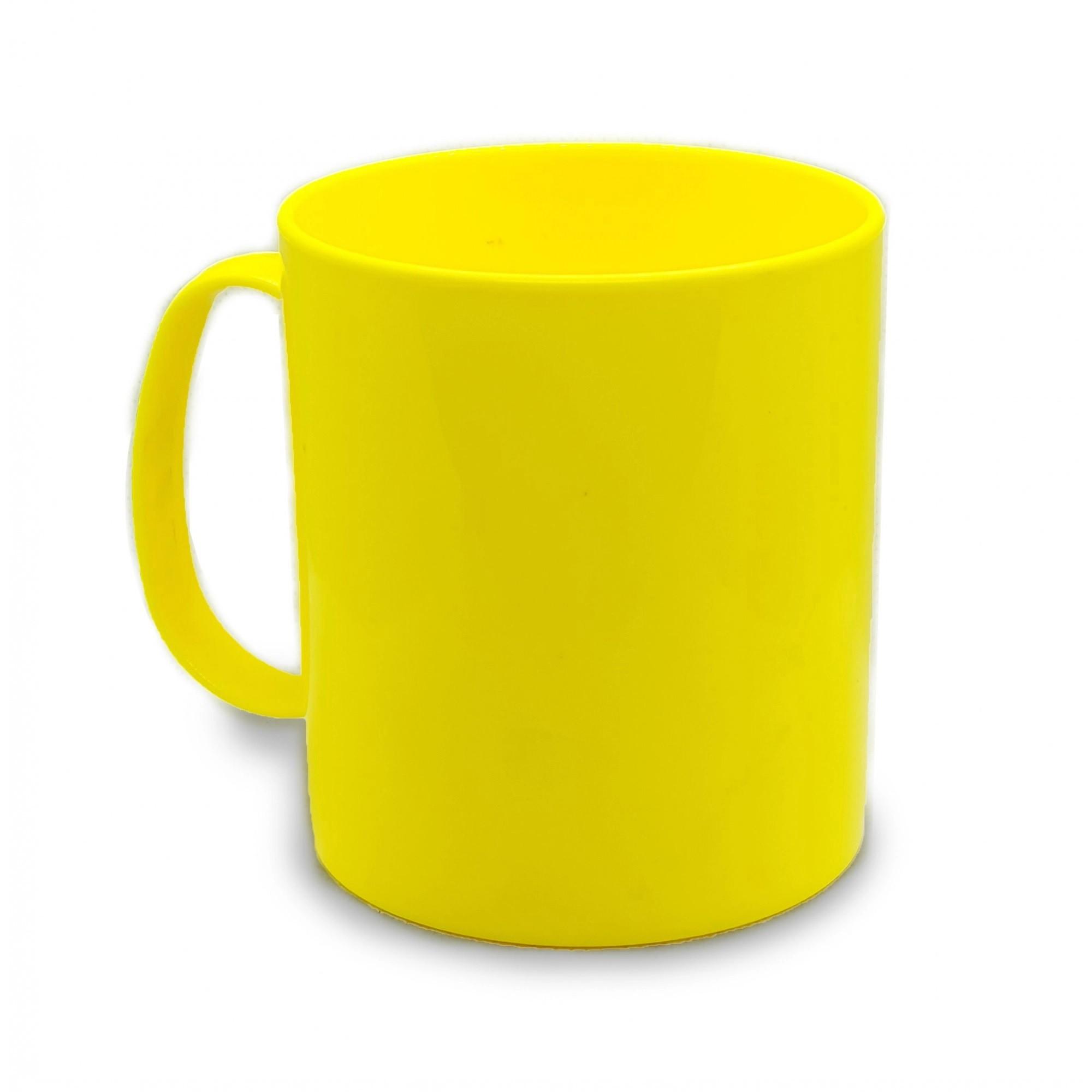 Caneca de polímero 350ml Amarelo Limão - 12 unidades  - ECONOMIZOU