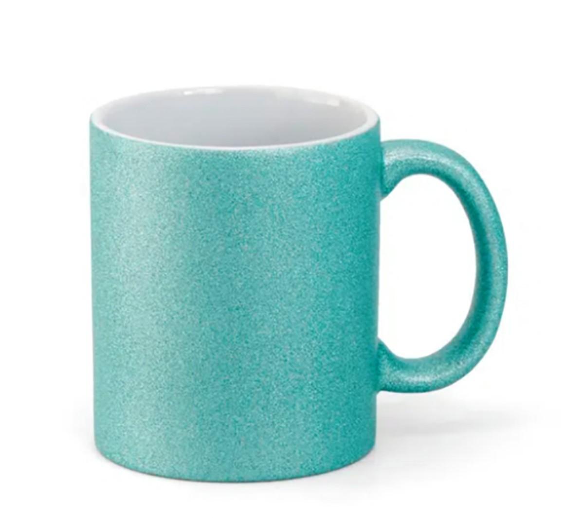 Caneca Glitter azul tiffany para Sublimação 300ml - Unidade  - ECONOMIZOU