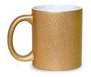 Caneca Glitter Dourada para Sublimação 300ml (Unidade)  - ECONOMIZOU