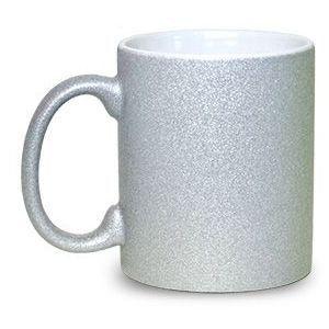Caneca Glitter Prata para Sublimação 300ml (Unidade)  - ECONOMIZOU