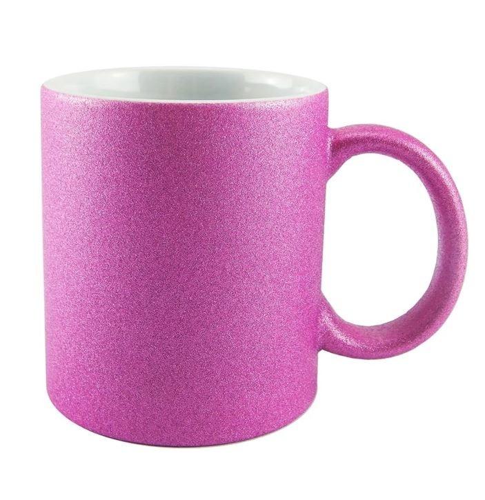 Caneca Glitter Rosa Fúscia para Sublimação 300ml (Unidade)  - ECONOMIZOU