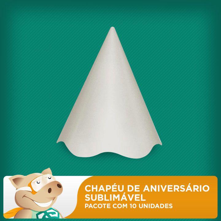 Chapéu de Aniversário Sublimável - Pacote Com 10 Unidades  - ECONOMIZOU
