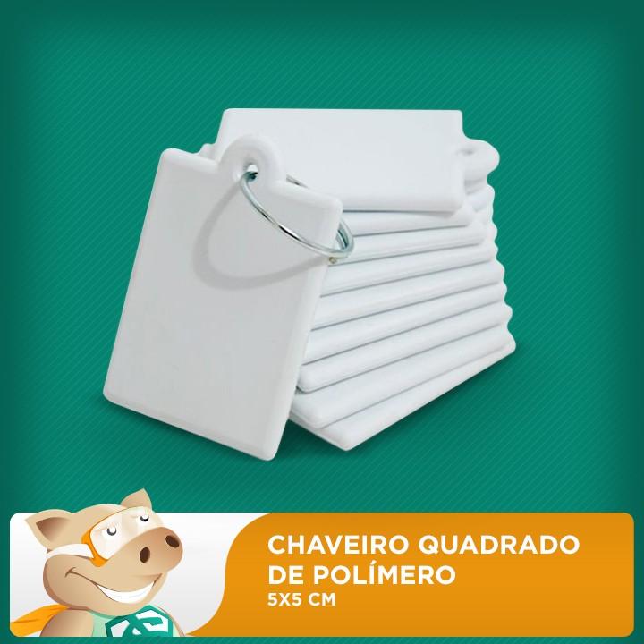 Chaveiro de Polímero 5x5cm Quadrado - Pacote com 10 unidades   - ECONOMIZOU