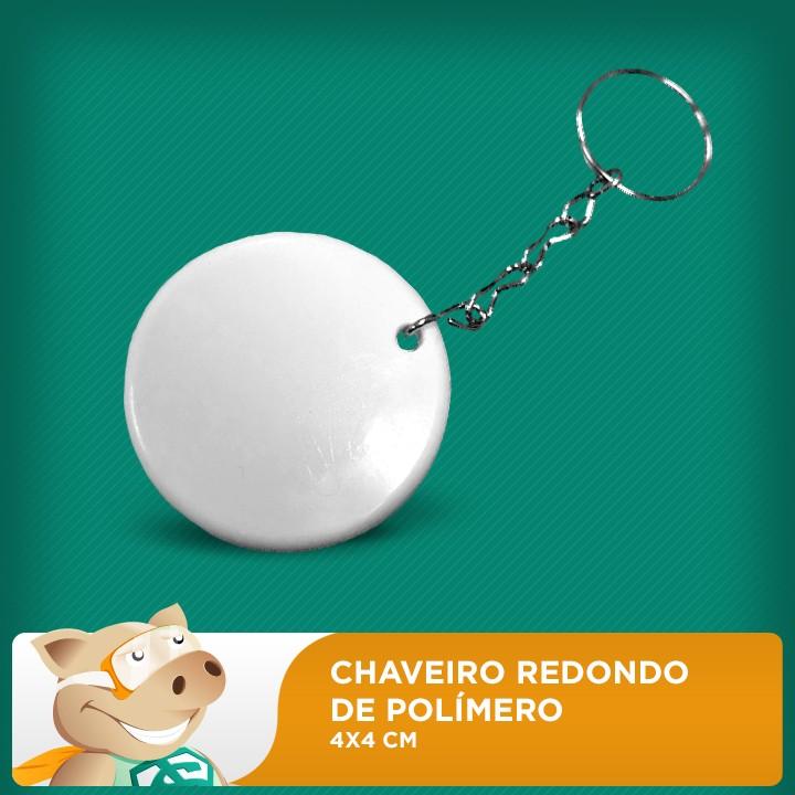 Chaveiro de Polímero 4x4cm Redondo - Pacote com 10 unidades   - ECONOMIZOU