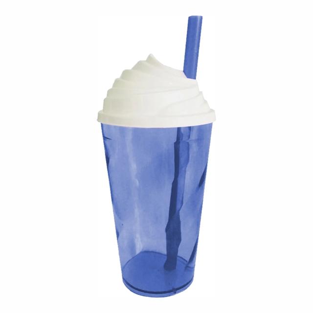 Copo Chantilly Azul c/ Tampa branca - 300 ml  - ECONOMIZOU