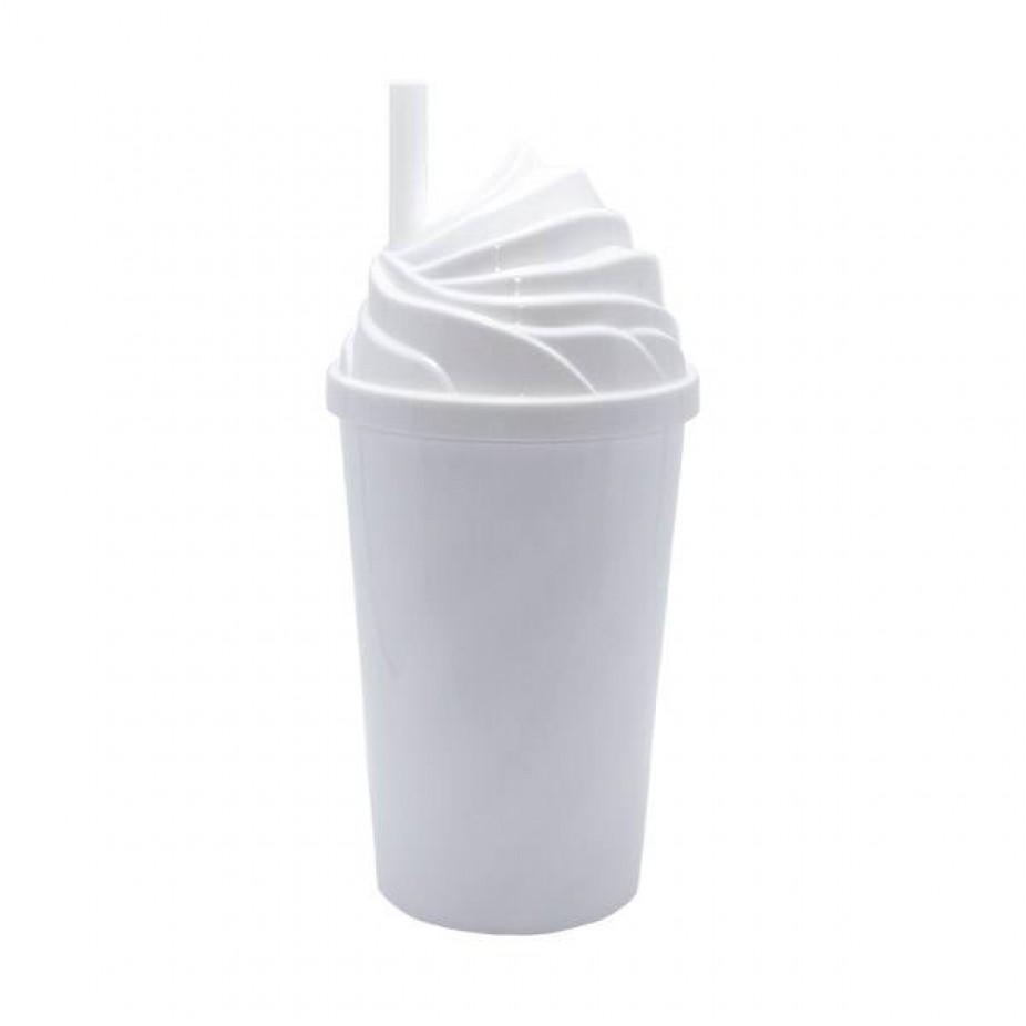 Copo Chantilly branco c/ tampa branca - 300 ml  - ECONOMIZOU
