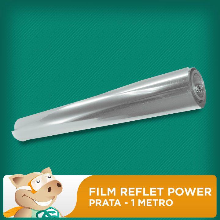 Film Reflet Power Prata - 1 Metro  - ECONOMIZOU