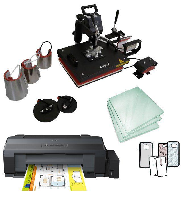 Kit Sublimação A3 + 8x1 (prensa 8x1 + impressora A3 + suprimentos + perfil de cores GRATIS!)   - ECONOMIZOU