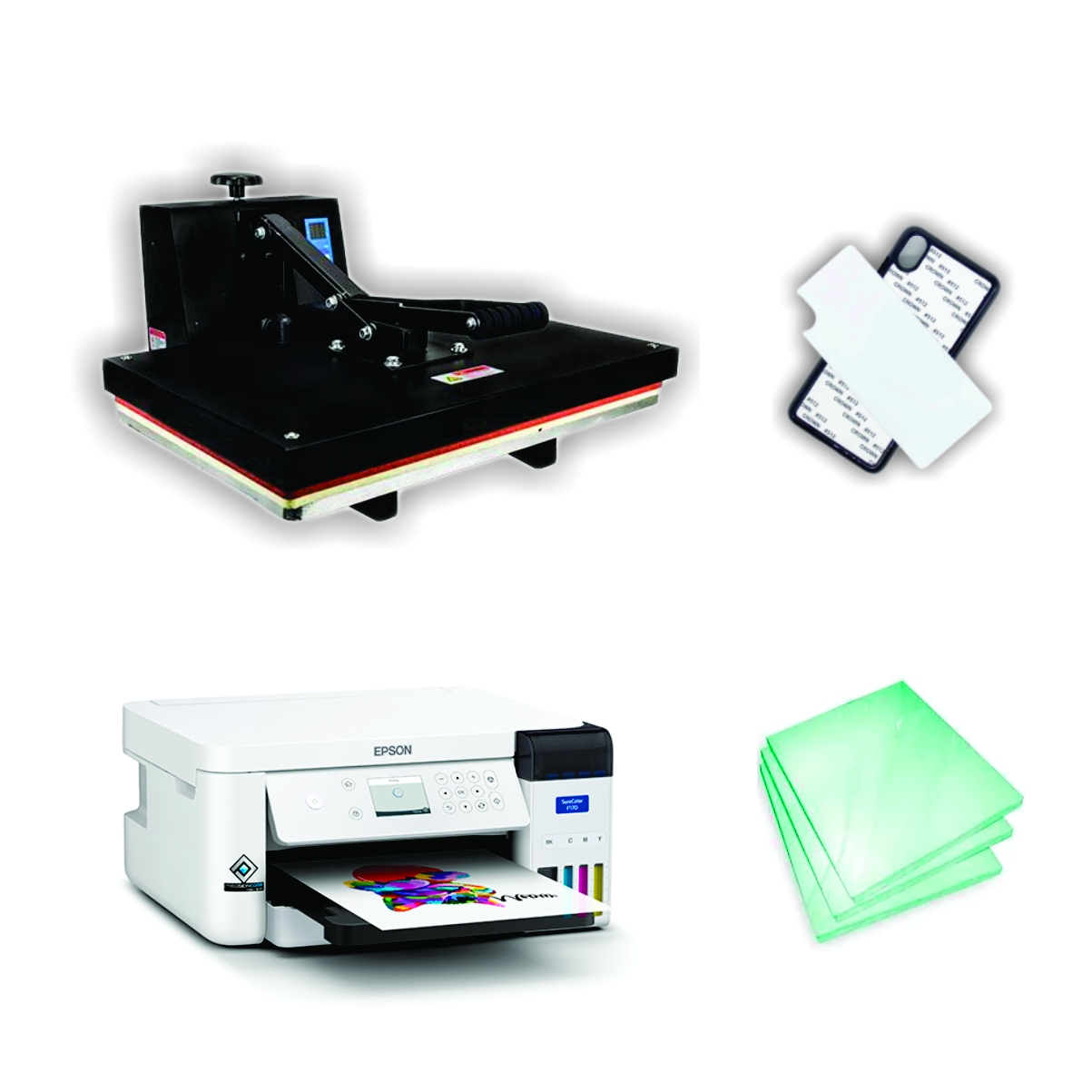 Kit Sublimação A3 (prensa 40x60 + Impressora Epson F170 - Sublimática Original de Fábrica+ suprimentos + perfil de cores GRATIS!)  - ECONOMIZOU