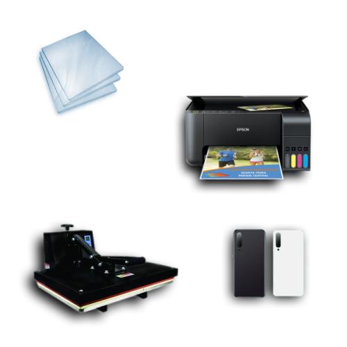 Kit Sublimação Iniciante A3 (Prensa 40x60 + Impressora Epson L3150 + 200 Folhas de Papel Sublimático Fundo Azul + 30 Capas de Celular)  - ECONOMIZOU