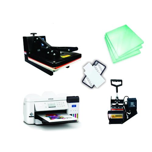 Kit sublimação A4  + 38x38 + prensa de canecas (prensa 38x38 + prensa de canecas + Epson F170 - Sublimática Original  A4+ perfil de cores GRATIS!)  - ECONOMIZOU