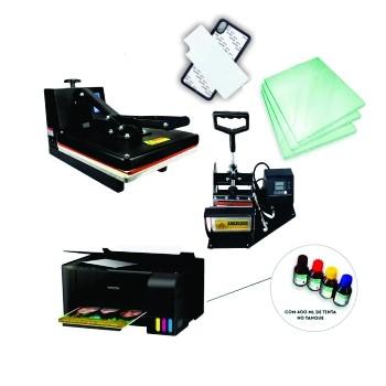 Kit sublimação A4  + 38x38 + prensa de canecas (prensa 38x38 + prensa de canecas + Multifuncional A4+L3150 perfil de cores GRATIS!)   - ECONOMIZOU
