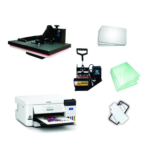 Kit sublimação Iniciante A4 (prensa 40x60 + prensa de canecas + Impressora Epson F170 Sublimática - Original de fábrica+ perfil de cores GRATIS!)  - ECONOMIZOU