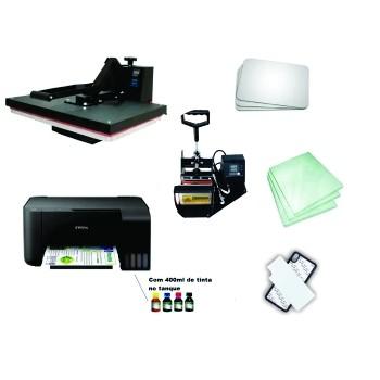 Kit sublimação A4  + 40x60 + prensa de canecas (prensa 40x60 + prensa de canecas + multifuncional A4+ perfil de cores GRATIS!)   - ECONOMIZOU