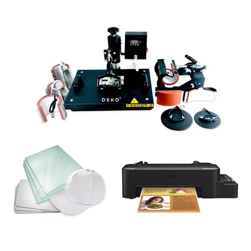 Kit sublimação A4 + 8x1 c/L120 (prensa 8x1 + impressora A4 +  suprimentos + perfil de cores GRATIS!)   - ECONOMIZOU